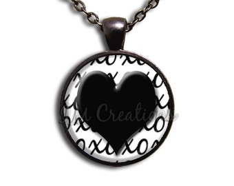 Hugs and Kisses Glass Dome Pendant or with Chain Link Necklace HD105