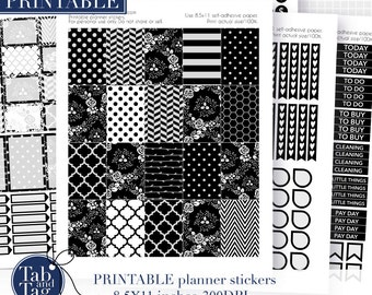 BLACK and WHITE printable stickers fits MAMBI Happy Planner.