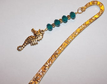 Gold Plated Seahorse Blue Green Beaded Golden Bookmark