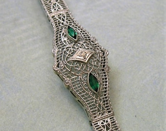 Antique 10K White Gold Filigree Bracelet, Antique Filigree Bracelet, Art Deco Bracelet, Filigree Bracelet (#3212)