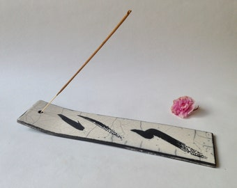 Incense holder - ceramic incense holder - Raku incence holder - white incense holder - Black and white incense holder