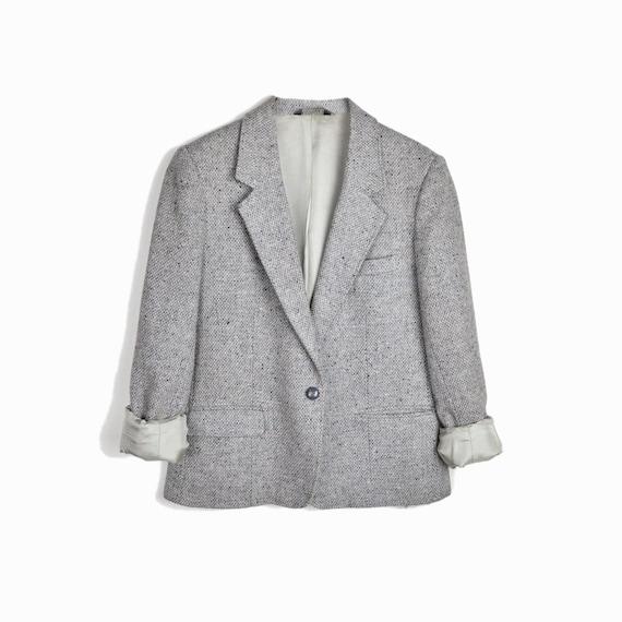Vintage Women's Tweed Wool Blazer Jacket in Pale Gray - women's medium