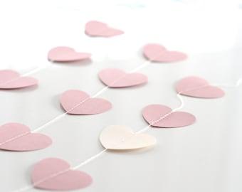 Heart paper garland -bunting / valentines decoration / Stitched Paper Nursery Birthday Children party Decor Photo Prop wedding backdrop