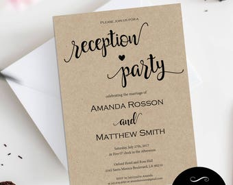 Wedding reception invitation reception party printable reception party invitation template diy wedding invitation wedding reception printable pdf wedding stopboris Gallery