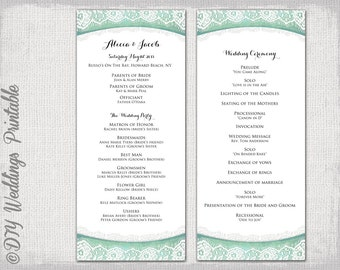 wedding program template plum lace diy order of