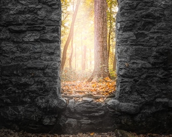 Autumn within Long Pond Ironworks, Old Stone Ruins Signed Print, Historical Site, 19th Century Architecture, Fall Foliage