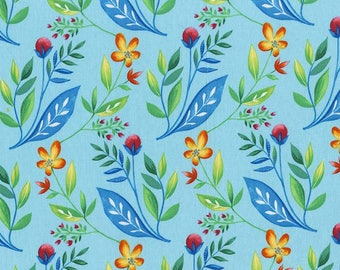Michael MIller's 100% cotton  MAGGIE JEAN blue country print is adorned with Blue, green, and yellow leaves holding wild strawberries