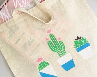 Handprinted Succulent Cactus Tote Bag