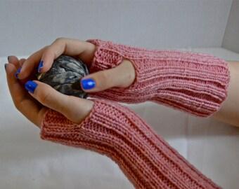 Pink Ladies Gloves, Fingerless Gloves, Fingerless Mittens, Pink Hand Warmers, Knit Womens Mittens, Teen Fashion