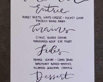 Custom Hand Lettered Menu