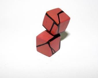 Coral Geometric Wood Stud Cube Earrings