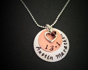 hand stamped Full Marathon Necklace-Personalized-Marathon Charm-Marathon Pendant-Full Marathon Jewelry-13.1 Marathon-half marathon