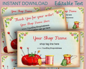 Sewing shop cards or gift tags #4  business & Thank You  - vintage pincushion needle and thread image - editable text PDF INSTANT DOWNLOAD