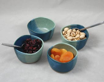 Bowl Set for Sushi or Dipping in Aqua and Teal Blue, Mini Sauce Bowls Set of Four, Condiment Small Bowl Set of 4