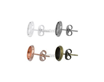 8mm Round Bezel Earring Stud Blank Base Stud Earring Tray Ear Earring Blank Stud Base fit 8mm Round Cabochons 50 PCS M101