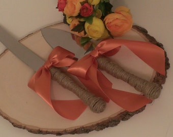 fall wedding cake knife, autumn wedding cake serving set, custom color ribbon (K114)