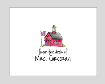 Personalized Teacher Schoolhouse Folded Note Cards