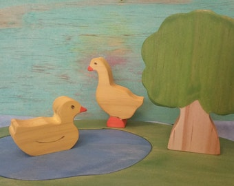 Wooden Ducks, Pond and Tree