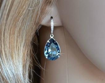 Handmade Swarovski Denim Blue Pear Crystal Dangle Earrings, Bridal, Wedding (Sparkle-2642)