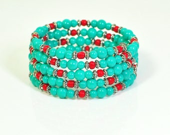 Red and Turquoise Wraparound Bracelet- Memory Wire Bracelet- Blue and Red Bracelet- Beaded Bracelet Cuff- Wrap Bracelet- Gift for Her