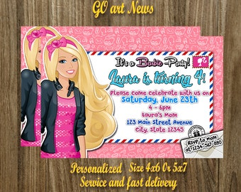 Barbie Invitation,Barbie Birthday Invitation,Barbie Party,Barbie Birthday Card,Barbie Printable,Girl Invitation,Digital Download