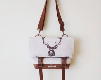 Canvas Crossbody Bag, Crossbody Bags for Travel, Foldover Crossbody bag, Messenger Bag, Shoulder Bag, Hip Bag, Fold Over, Deer Bag, Cotton