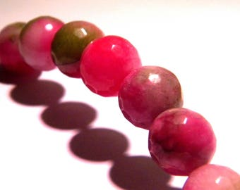 5 jade beads 12 mm faceted 3 shades of magenta, beige and green gems PG207 semi-precious stones