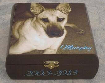Pet Memorial Keepsake Box, Pet Urn, Personalized Photo Keepsake Box, Unique Dog Memorial, Custom Cat Memorial, Pet Gift Memory Box