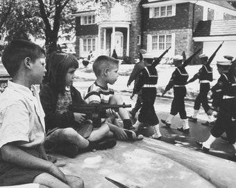 8x10 Black and White 1960 Vintage Parade Toy Gun Photo Print