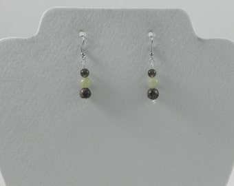 Natural gemstone and glass earrings