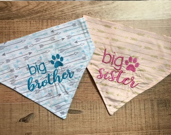 Big Brother Pregnancy announcement dog bandana/Surprise pregnancy announcement/Pregnancy surprise announcement/Dog scarf