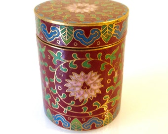 Vintage Chinese Round Cloisonné Box with Lid Red Pink Blue Green