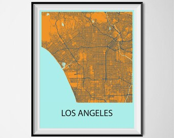 Los Angeles Map Poster Print - Orange and Blue