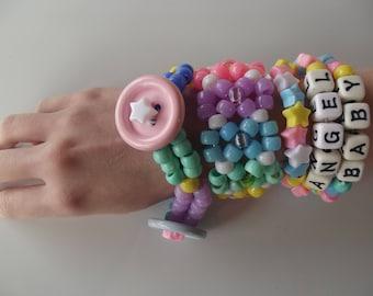 "Pastel Fairy Kei / ""Kawaii"" Kandi Bracelet Set + Cuff."