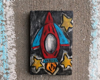 Rocket ship space theme kids room nursery decor space ship original art painting on reclaimed wood