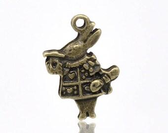 Bronze charm rabbit Alice color 20x13mm