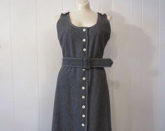 Vintage dress, 1970s dress, button dress, Saks dress, gray dress, vintage clothing, medium