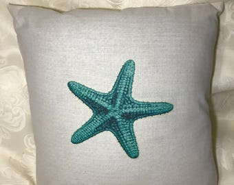 Decorative Blue Starfish Pillow