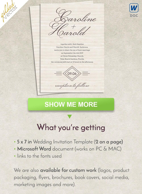 Boda DIY invitación plantilla Word tarjeta de boda boda
