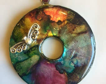 Beautiful washer necklace with angel wings