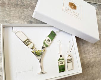 Gin and tonic jewellery set - Gin necklace - Gin lover - Gin lover gift - Statement necklace - Gin bottle - Gin glass - Mother's Day