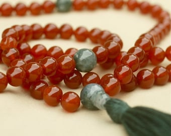 Carnelian Mala Necklace with Moss Agate Markers - Courage & Confidence Mala