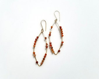 Carnelian Gold Wire Wrap Earrings Chandelier Earrings Beaded Orange & Gold Earrings Boho Gemstone Earrings Carnelian Gemstone Earrings