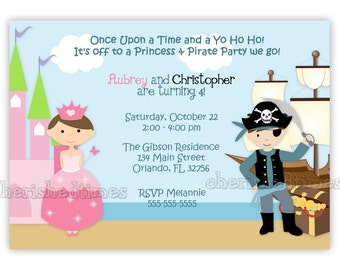 Princess And Pirate Style 2 Birthday Invitation (You Print)