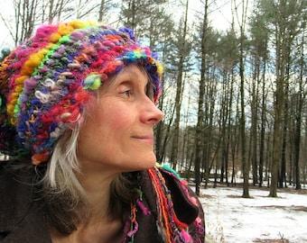 knit hat soft artyarn handknit  patchwork rainbow faerie slouchy hat - rainbow day fantasy hat