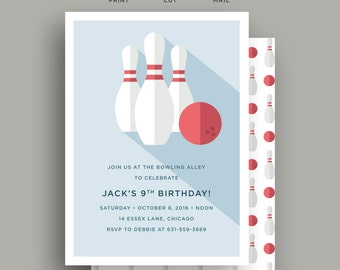 Bowling Birthday Party Invitation - Kids Birthday Party Invite - DIY Invite - Blue - 5x7 - Print, Cut, Mail.