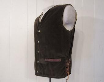 Vintage vest, 1950s vest, Towncraft, vintage clothing, fleece lined vest, corduroy vest, medium