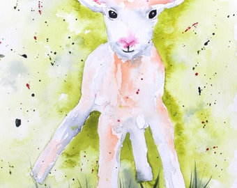 Pam the Lamb Watercolor Print of Original Painting, Watercolor Lamb painting, Lamb Painting