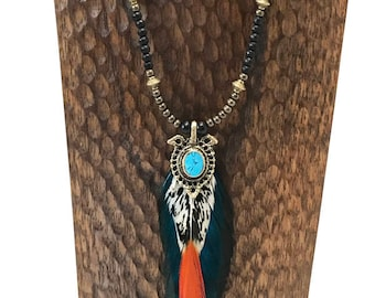 Blue Fire Feather Beaded Feather Necklace