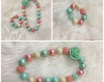 Chunky Bead Neaklace For Photos, Special Occasions, Birthdays: Peach, Mint, Ivory ; These Are Ready To Ship